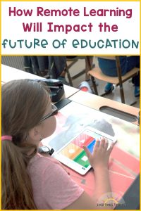 girl in classroom with ipad. Text: How will remote learning affect the future of education